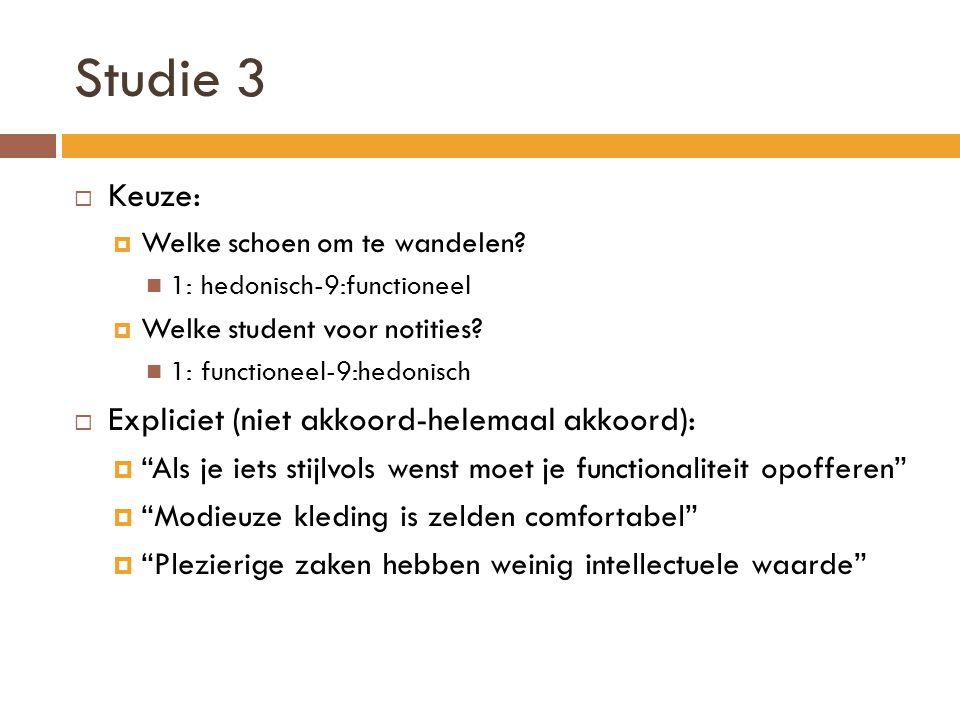 Studie 3  Keuze:  Welke schoen om te wandelen? 1: hedonisch-9:functioneel  Welke student voor notities? 1: functioneel-9:hedonisch  Expliciet (nie