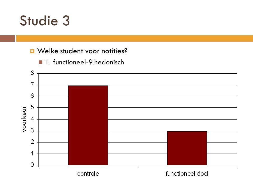 Studie 3  Welke student voor notities? 1: functioneel-9:hedonisch