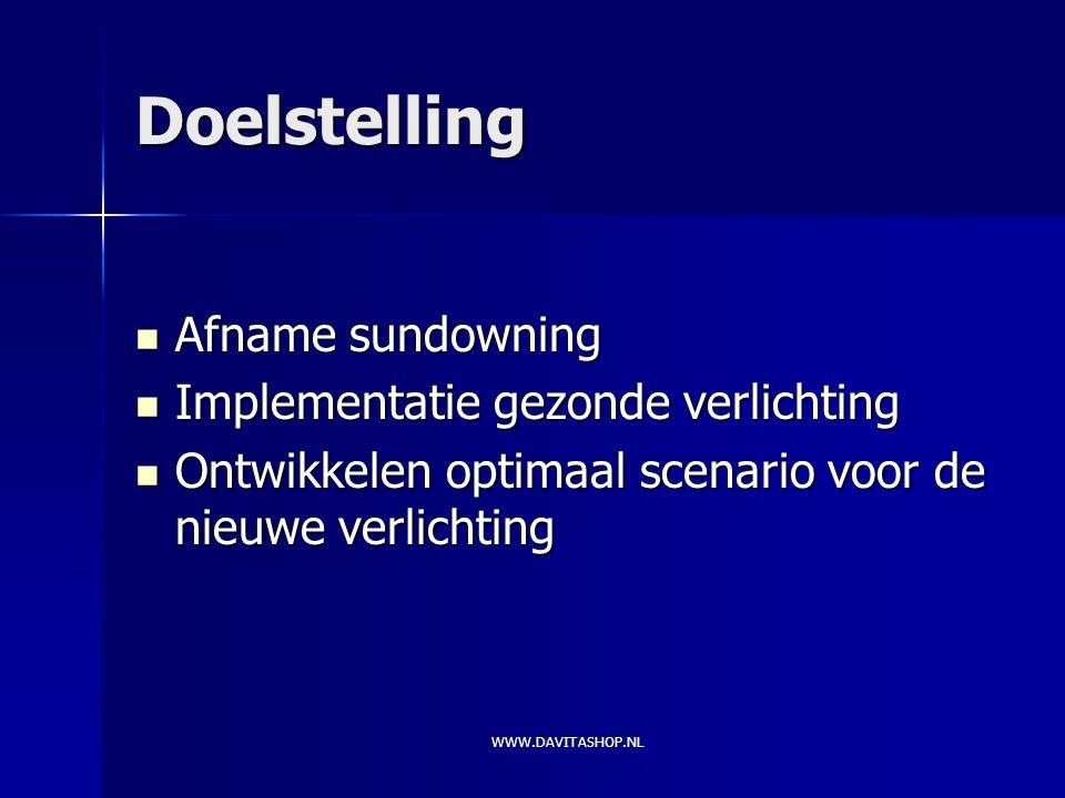 Doelstelling Afname sundowning Afname sundowning Implementatie gezonde verlichting Implementatie gezonde verlichting Ontwikkelen optimaal scenario voor de nieuwe verlichting Ontwikkelen optimaal scenario voor de nieuwe verlichting WWW.DAVITASHOP.NL