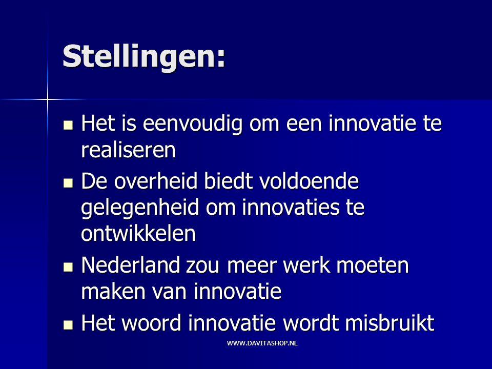 Stellingen: Het is eenvoudig om een innovatie te realiseren Het is eenvoudig om een innovatie te realiseren De overheid biedt voldoende gelegenheid om innovaties te ontwikkelen De overheid biedt voldoende gelegenheid om innovaties te ontwikkelen Nederland zou meer werk moeten maken van innovatie Nederland zou meer werk moeten maken van innovatie Het woord innovatie wordt misbruikt Het woord innovatie wordt misbruikt WWW.DAVITASHOP.NL