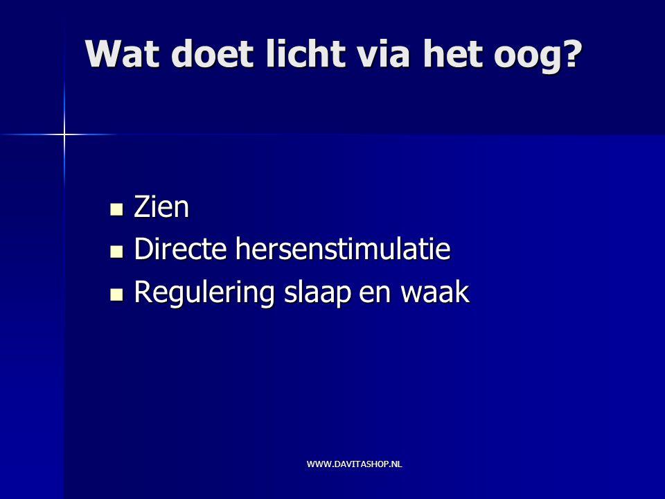 WWW.DAVITASHOP.NL Wat doet licht via het oog.