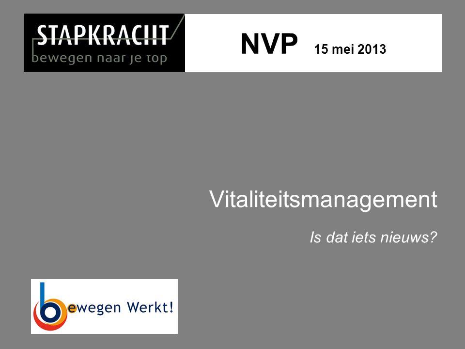 NVP 15 mei 2013 Vitaliteitsmanagement Is dat iets nieuws?