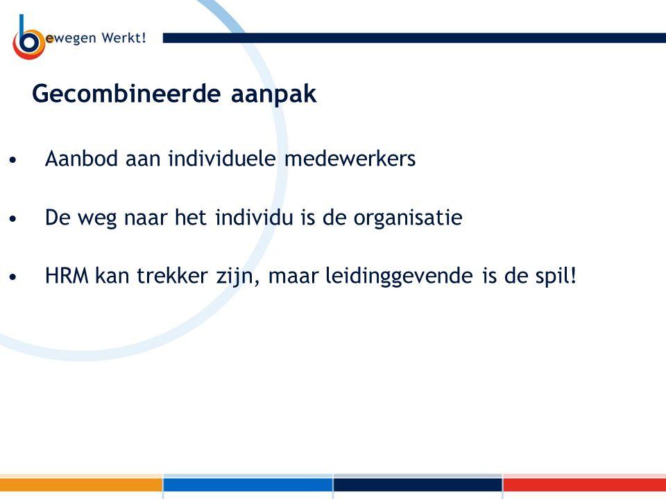 Gecombineerde aanpak Aanbod aan individuele medewerkers De weg naar het individu is de organisatie HRM kan trekker zijn, maar leidinggevende is de spi
