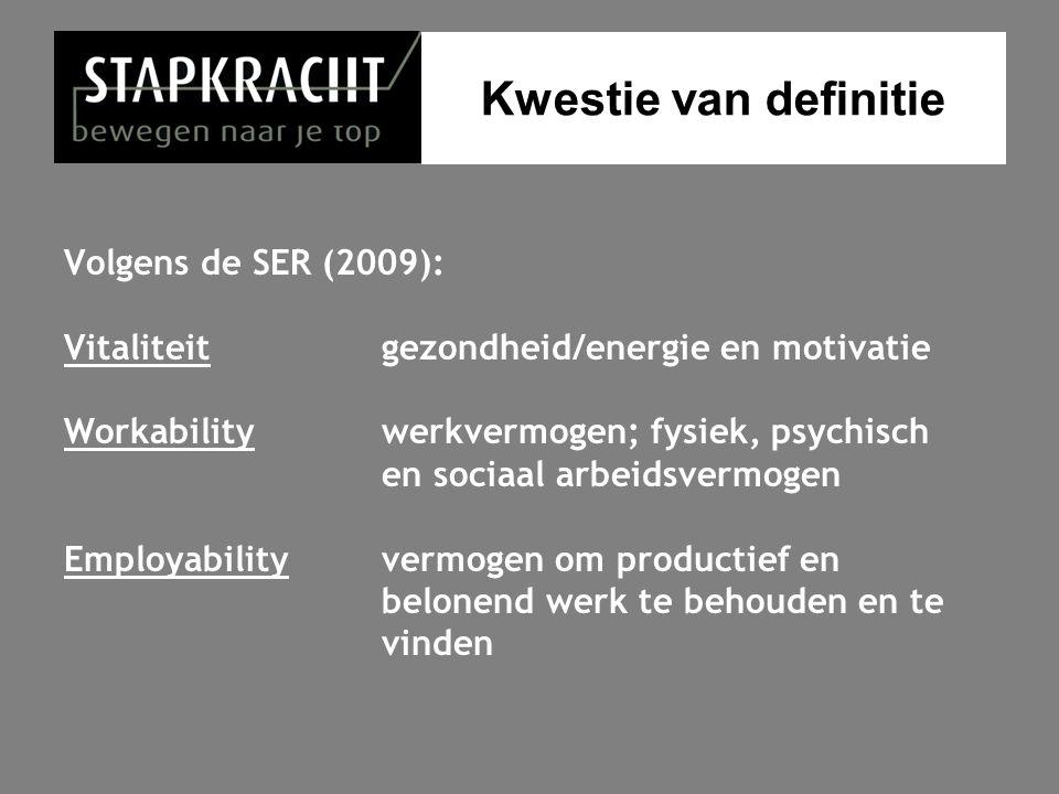 Kwestie van definitie Volgens de SER (2009): Vitaliteit gezondheid/energie en motivatie Workability werkvermogen; fysiek, psychisch en sociaal arbeids