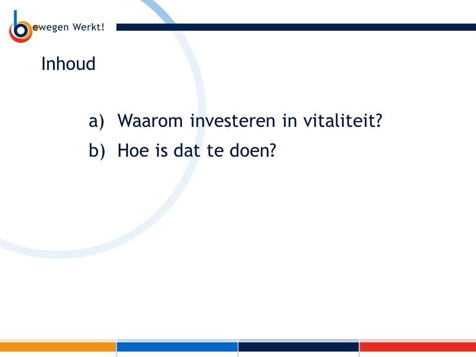 Inhoud a) Waarom investeren in vitaliteit? b) Hoe is dat te doen?