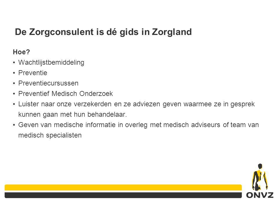 De Zorgconsulent is dé gids in Zorgland Hoe? Wachtlijstbemiddeling Preventie Preventiecursussen Preventief Medisch Onderzoek Luister naar onze verzeke