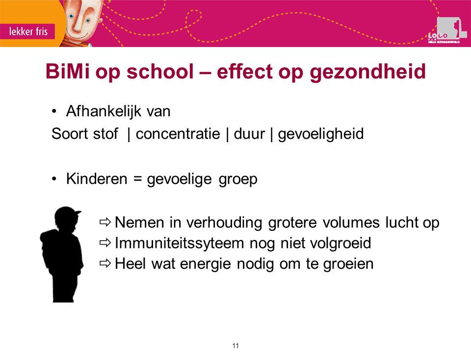 Afhankelijk van Soort stof | concentratie | duur | gevoeligheid Kinderen = gevoelige groep  Nemen in verhouding grotere volumes lucht op  Immuniteit