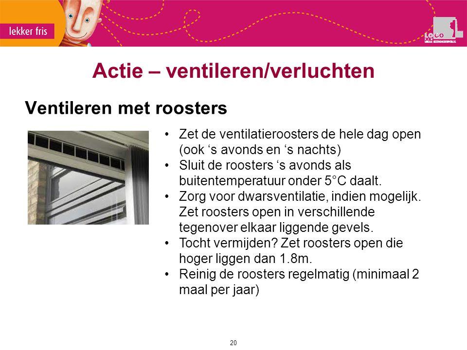 Ventileren met roosters 20 Actie – ventileren/verluchten Zet de ventilatieroosters de hele dag open (ook 's avonds en 's nachts) Sluit de roosters 's