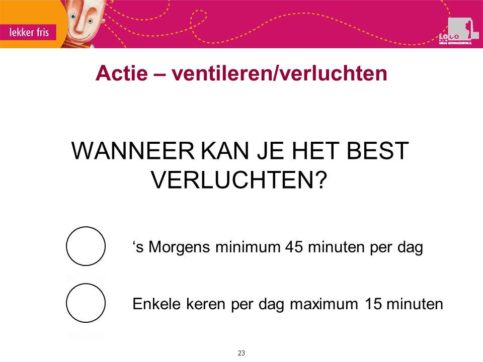 23 WANNEER KAN JE HET BEST VERLUCHTEN? 's Morgens minimum 45 minuten per dag Enkele keren per dag maximum 15 minuten