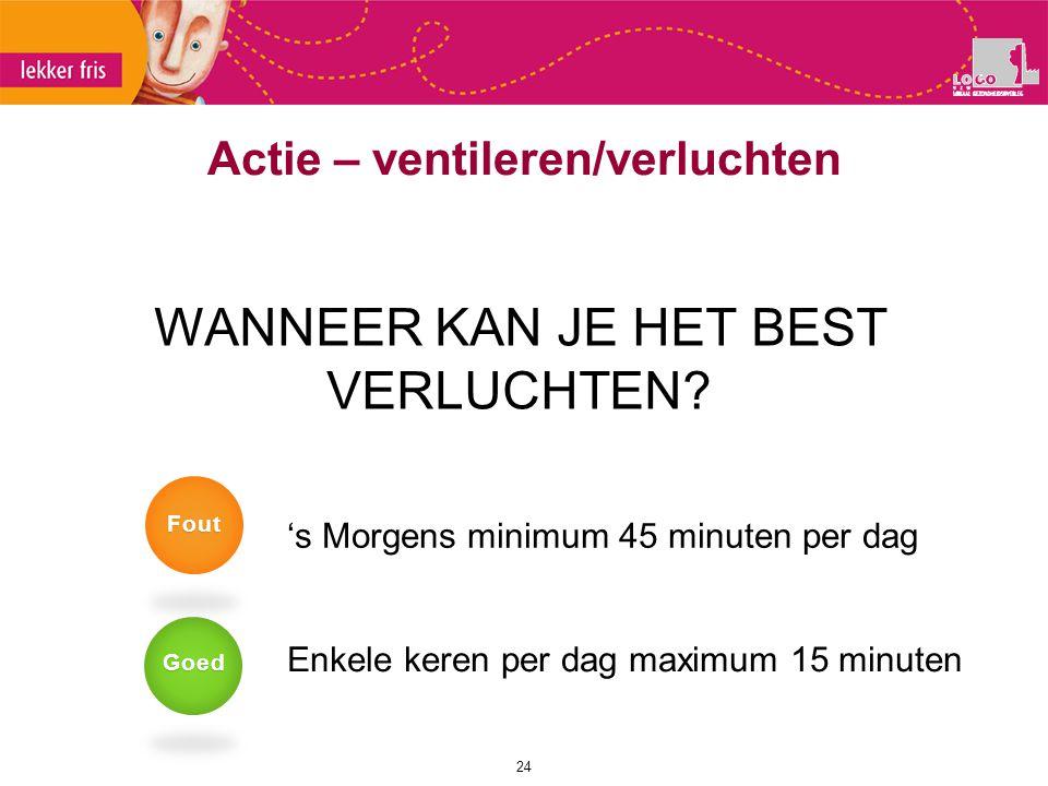 Actie – ventileren/verluchten 24 WANNEER KAN JE HET BEST VERLUCHTEN? 's Morgens minimum 45 minuten per dag Enkele keren per dag maximum 15 minuten Goe