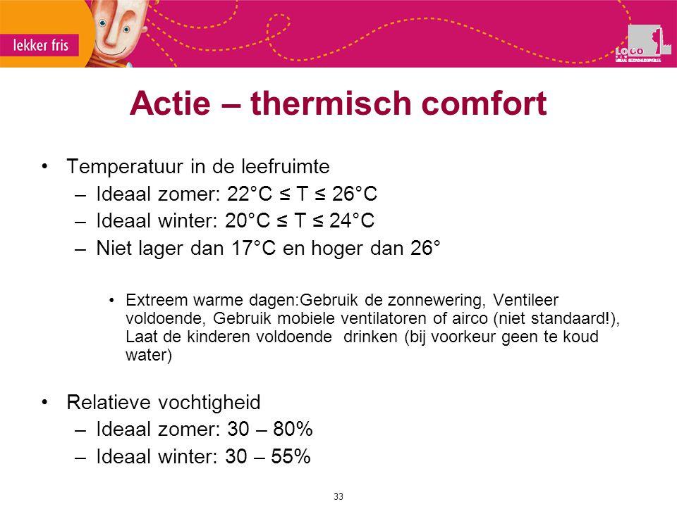 Actie – thermisch comfort 33 Temperatuur in de leefruimte –Ideaal zomer: 22°C ≤ T ≤ 26°C –Ideaal winter: 20°C ≤ T ≤ 24°C –Niet lager dan 17°C en hoger
