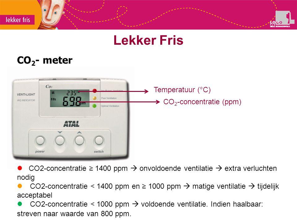 CO 2 - meter Lekker Fris Temperatuur (°C) CO 2 -concentratie (ppm) CO2-concentratie ≥ 1400 ppm  onvoldoende ventilatie  extra verluchten nodig  CO2