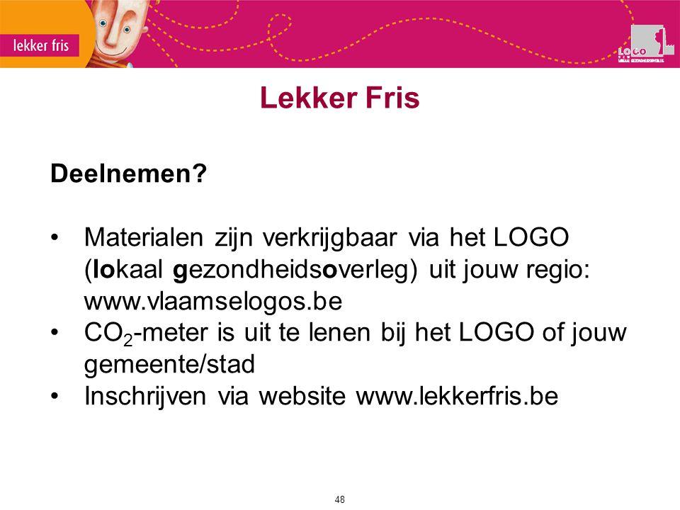 48 Lekker Fris Deelnemen? Materialen zijn verkrijgbaar via het LOGO (lokaal gezondheidsoverleg) uit jouw regio: www.vlaamselogos.be CO 2 -meter is uit