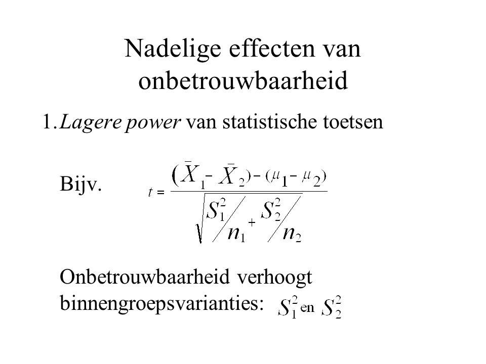 Nadelige effecten van onbetrouwbaarheid 1.Lagere power van statistische toetsen Bijv. Onbetrouwbaarheid verhoogt binnengroepsvarianties: