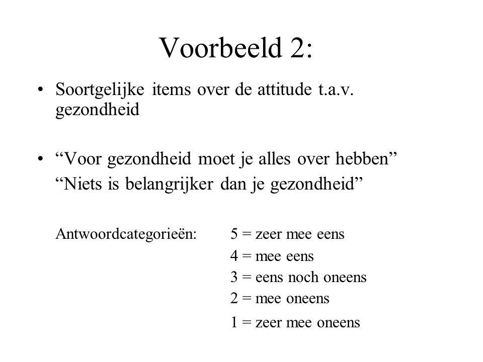 Voorbeeld 2: Soortgelijke items over de attitude t.a.v.