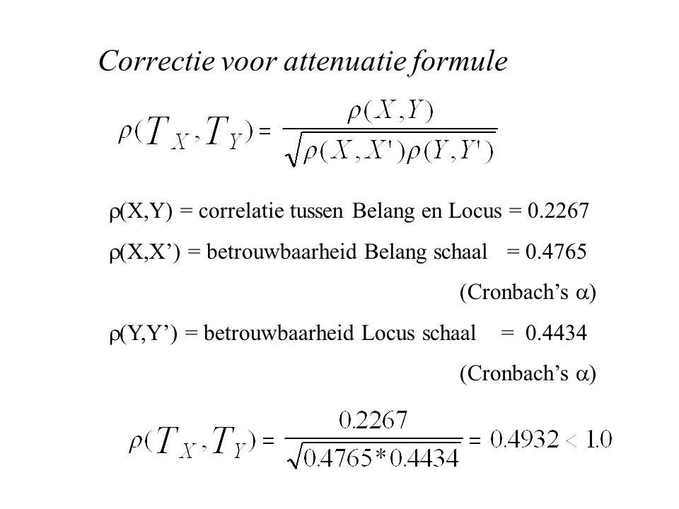 Correctie voor attenuatie formule  (X,Y) = correlatie tussen Belang en Locus = 0.2267  (X,X') = betrouwbaarheid Belang schaal = 0.4765 (Cronbach's  )  (Y,Y') = betrouwbaarheid Locus schaal = 0.4434 (Cronbach's  )