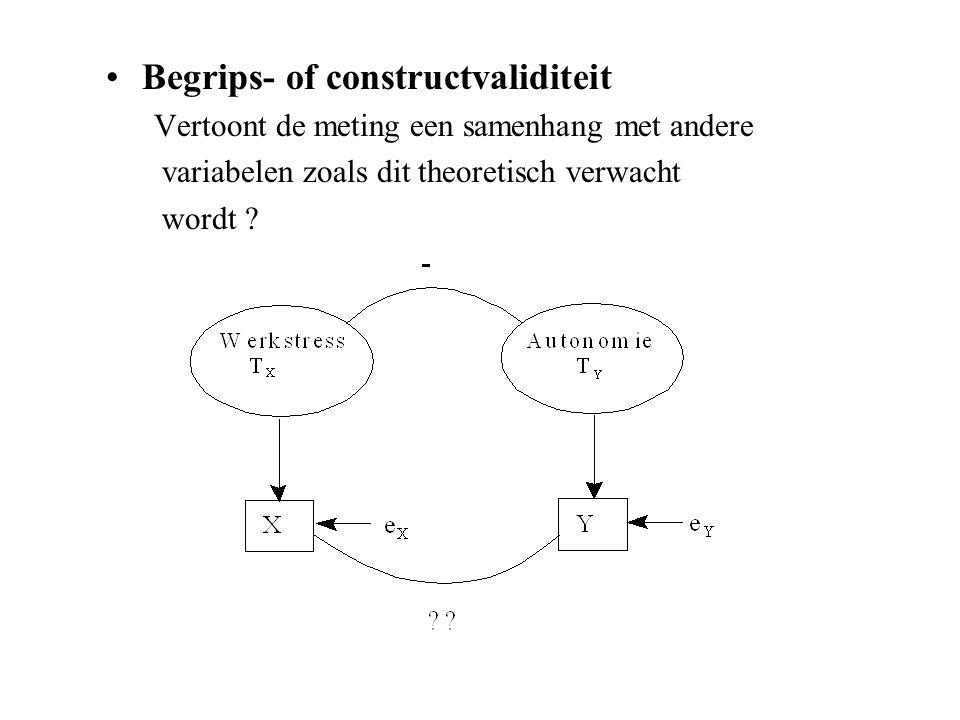 Begrips- of constructvaliditeit Vertoont de meting een samenhang met andere variabelen zoals dit theoretisch verwacht wordt ?