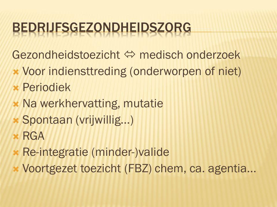 Gezondheidstoezicht  medisch onderzoek  Voor indiensttreding (onderworpen of niet)  Periodiek  Na werkhervatting, mutatie  Spontaan (vrijwillig...)  RGA  Re-integratie (minder-)valide  Voortgezet toezicht (FBZ) chem, ca.