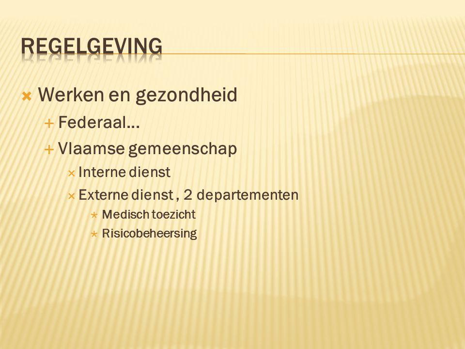  Werken en gezondheid  Federaal...  Vlaamse gemeenschap  Interne dienst  Externe dienst, 2 departementen  Medisch toezicht  Risicobeheersing