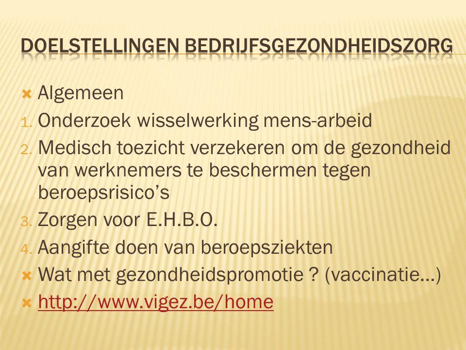  Algemeen 1. Onderzoek wisselwerking mens-arbeid 2. Medisch toezicht verzekeren om de gezondheid van werknemers te beschermen tegen beroepsrisico's 3