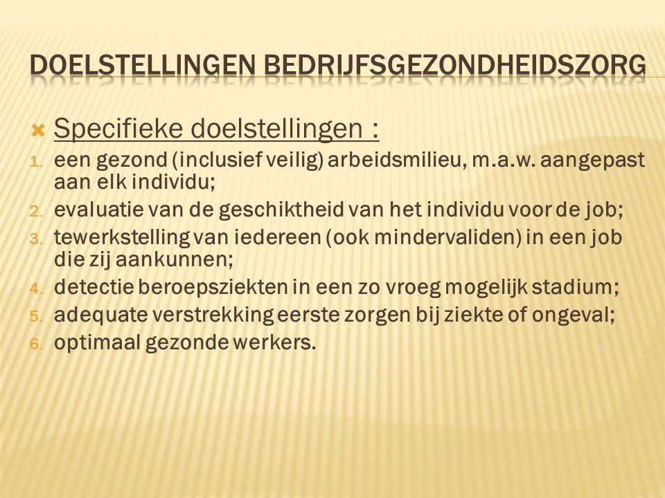  Specifieke doelstellingen : 1. een gezond (inclusief veilig) arbeidsmilieu, m.a.w. aangepast aan elk individu; 2. evaluatie van de geschiktheid van