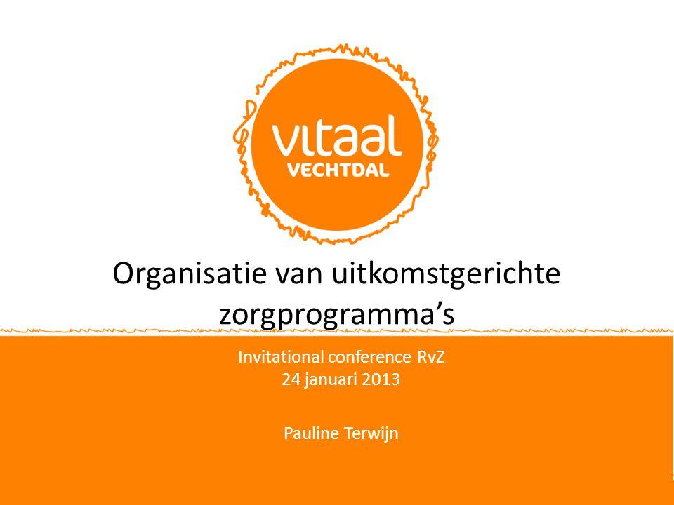 Organisatie van uitkomstgerichte zorgprogramma's Invitational conference RvZ 24 januari 2013 Pauline Terwijn