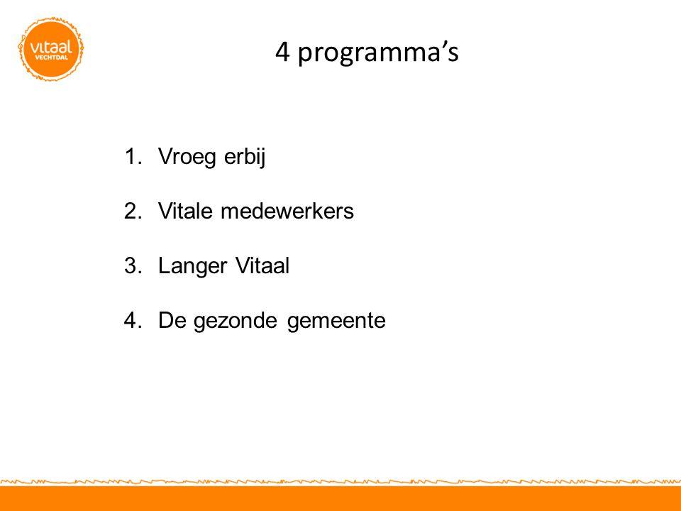 4 programma's 1.Vroeg erbij 2.Vitale medewerkers 3.Langer Vitaal 4.De gezonde gemeente