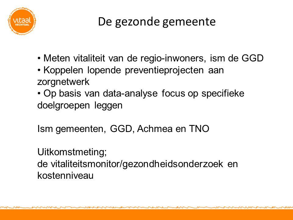 De gezonde gemeente Meten vitaliteit van de regio-inwoners, ism de GGD Koppelen lopende preventieprojecten aan zorgnetwerk Op basis van data-analyse f