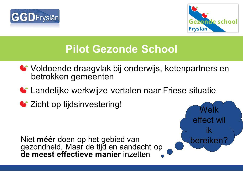 Pilot Gezonde School Voldoende draagvlak bij onderwijs, ketenpartners en betrokken gemeenten Landelijke werkwijze vertalen naar Friese situatie Zicht