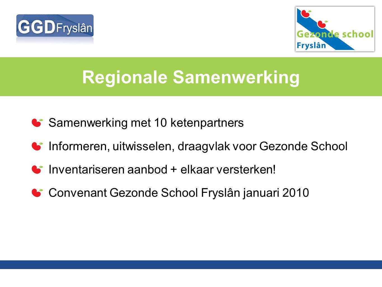 Regionale Samenwerking Samenwerking met 10 ketenpartners Informeren, uitwisselen, draagvlak voor Gezonde School Inventariseren aanbod + elkaar verster