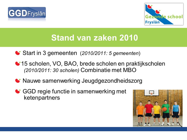 Stand van zaken 2010 Start in 3 gemeenten (2010/2011: 5 gemeenten) 15 scholen, VO, BAO, brede scholen en praktijkscholen (2010/2011: 30 scholen) Combi