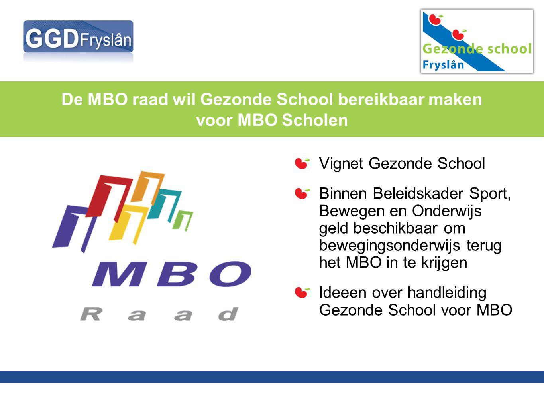 De MBO raad wil Gezonde School bereikbaar maken voor MBO Scholen Vignet Gezonde School Binnen Beleidskader Sport, Bewegen en Onderwijs geld beschikbaa