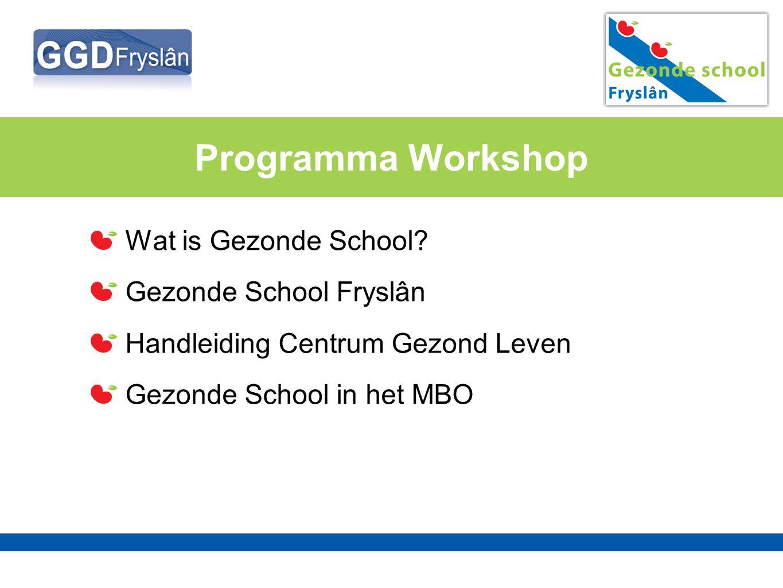 Programma Workshop Wat is Gezonde School? Gezonde School Fryslân Handleiding Centrum Gezond Leven Gezonde School in het MBO