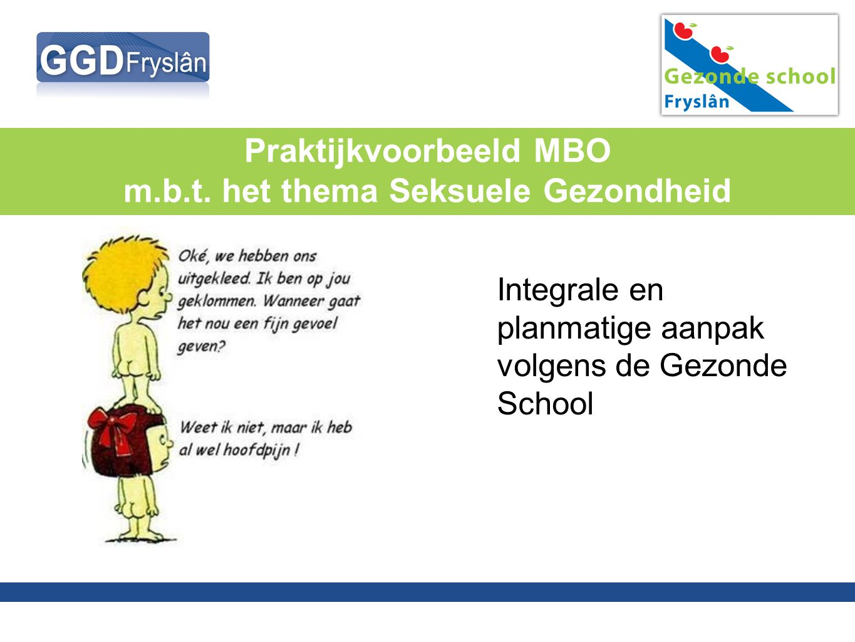 Praktijkvoorbeeld MBO m.b.t. het thema Seksuele Gezondheid Integrale en planmatige aanpak volgens de Gezonde School