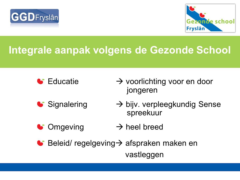 Integrale aanpak volgens de Gezonde School Educatie  voorlichting voor en door jongeren Signalering  bijv. verpleegkundig Sense spreekuur Omgeving 