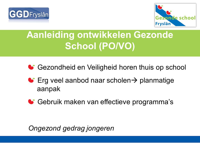 Aanleiding ontwikkelen Gezonde School (PO/VO) Gezondheid en Veiligheid horen thuis op school Erg veel aanbod naar scholen  planmatige aanpak Gebruik