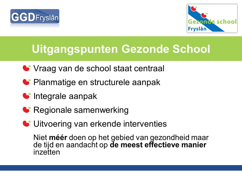 Vraag van de school staat centraal Planmatige en structurele aanpak Integrale aanpak Regionale samenwerking Uitvoering van erkende interventies Niet m