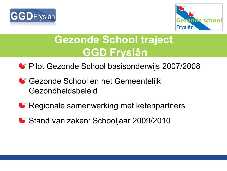 Pilot Gezonde School Voldoende draagvlak bij onderwijs, ketenpartners en betrokken gemeenten Landelijke werkwijze vertalen naar Friese situatie Zicht op tijdsinvestering.