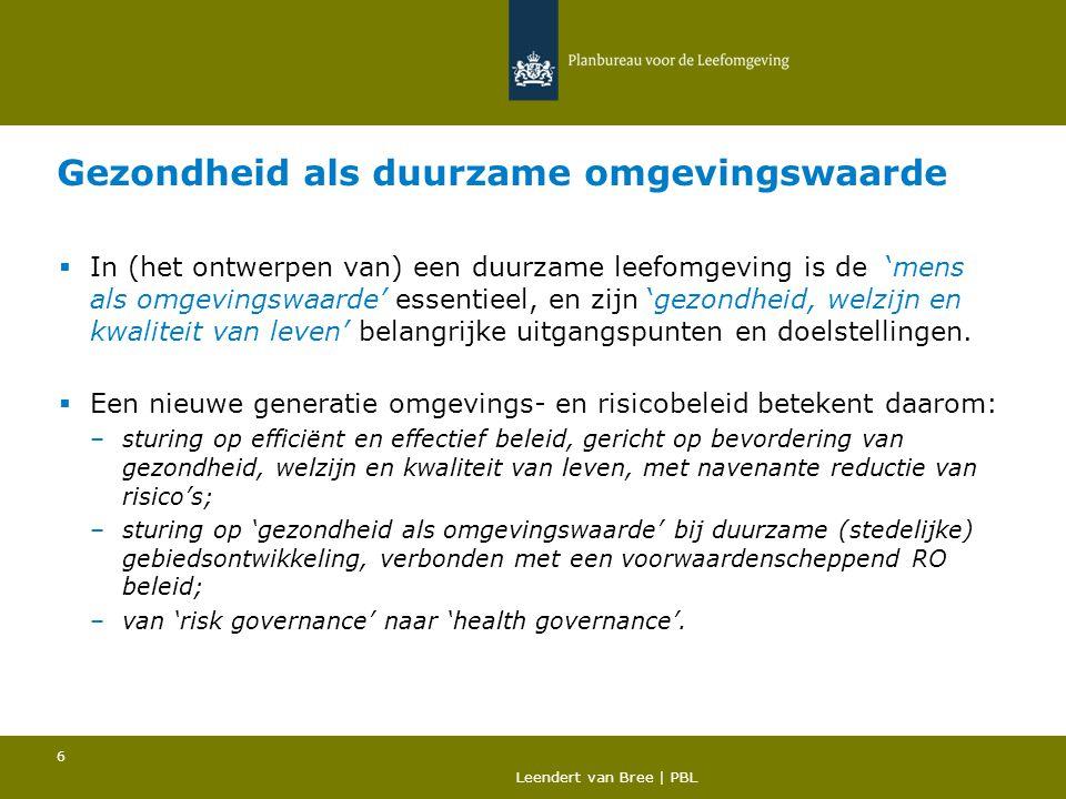 Duurzaam Omgaan met Risico's ® Duurzaam omgevings- en risicobeleid betekent… 1.'Nuchter Omgaan met Risico' beleid aanvullen met 'Omgevingsbeleid', –met sturing op gezondheid, welzijn en kwaliteit van leven (en risicoreductie) als duurzame omgevingswaarden, –met koppeling aan ruimtelijk beleid en (nieuwe) verdeling van verantwoordelijkheden, en –transitie naar 'risk governance' aanpak (zeker voor nog onbekende risicofactoren met groot maatschappelijk nut) met differentiatie in beslissingscriteria en sturingsprincipes in complexe of ambigue situaties.