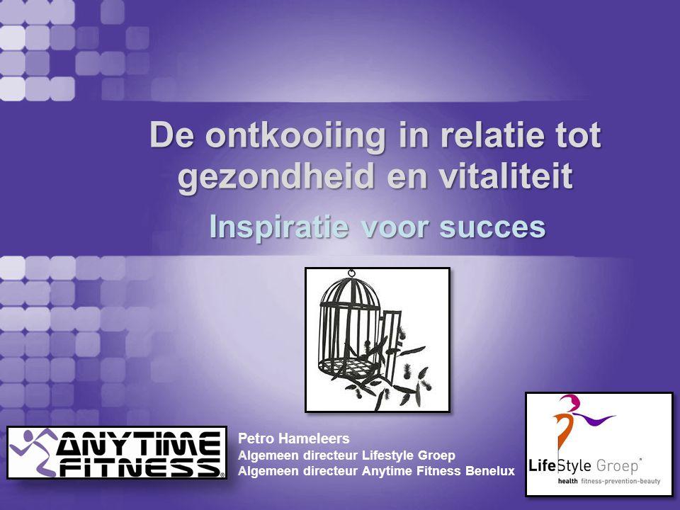 De ontkooiing in relatie tot gezondheid en vitaliteit Petro Hameleers Algemeen directeur Lifestyle Groep Algemeen directeur Anytime Fitness Benelux In