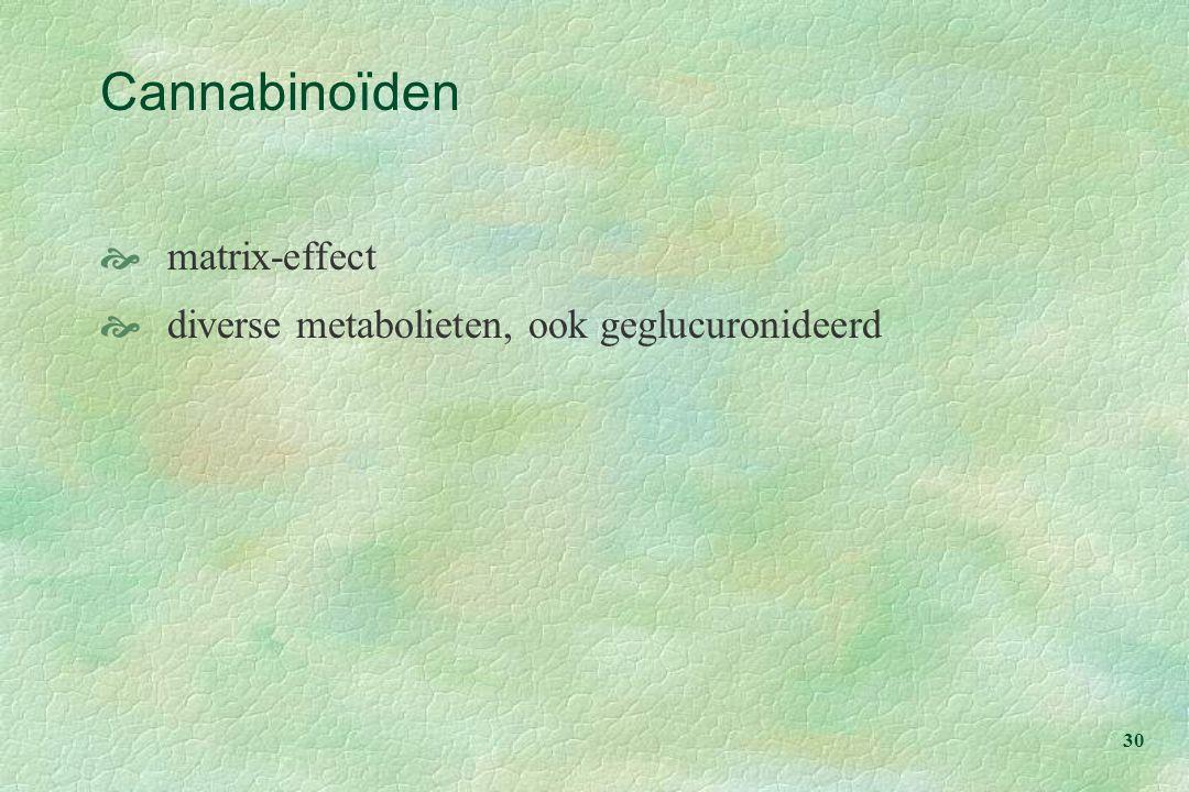 30 Cannabinoïden  matrix-effect  diverse metabolieten, ook geglucuronideerd