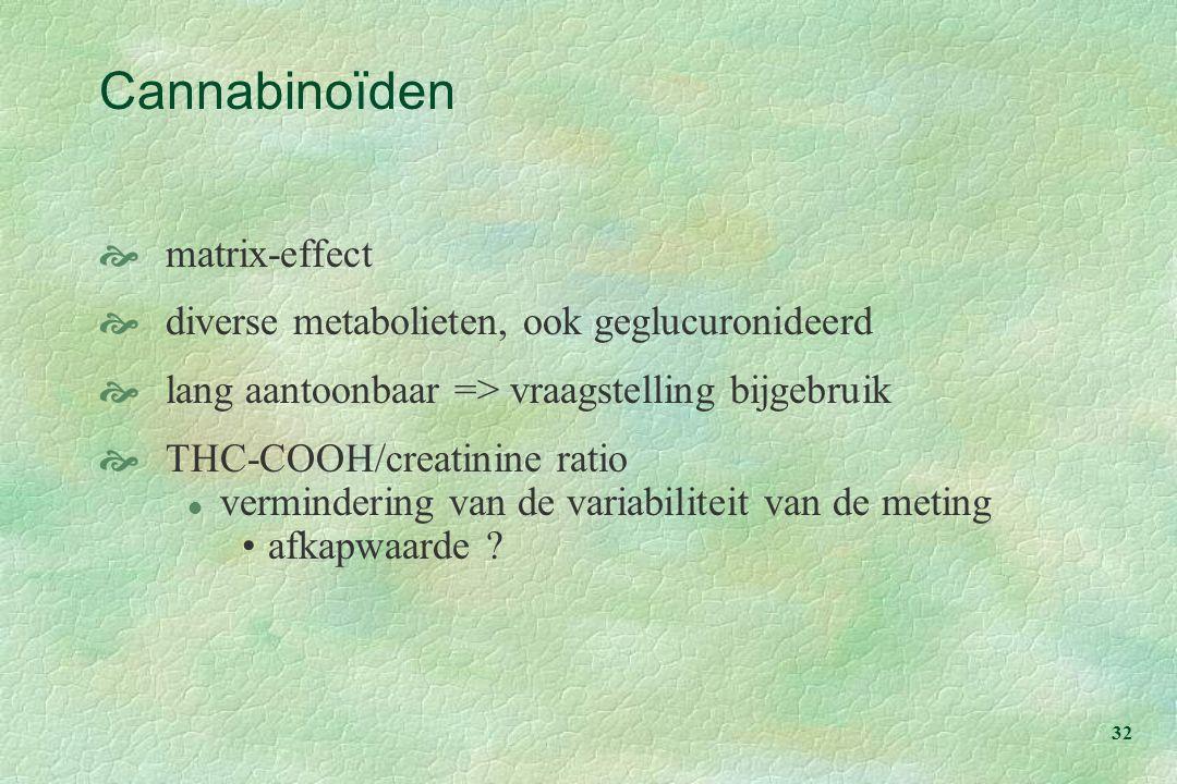 32 Cannabinoïden  matrix-effect  diverse metabolieten, ook geglucuronideerd  lang aantoonbaar => vraagstelling bijgebruik  THC-COOH/creatinine ratio l vermindering van de variabiliteit van de meting afkapwaarde ?