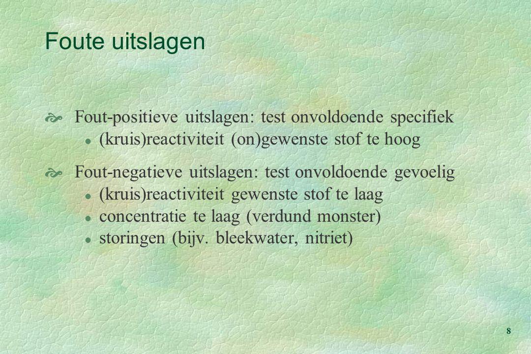8 Foute uitslagen  Fout-positieve uitslagen: test onvoldoende specifiek l (kruis)reactiviteit (on)gewenste stof te hoog  Fout-negatieve uitslagen: t