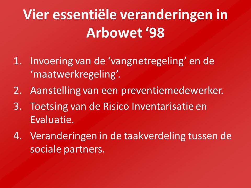 Vier essentiële veranderingen in Arbowet '98 1.Invoering van de 'vangnetregeling' en de 'maatwerkregeling'.