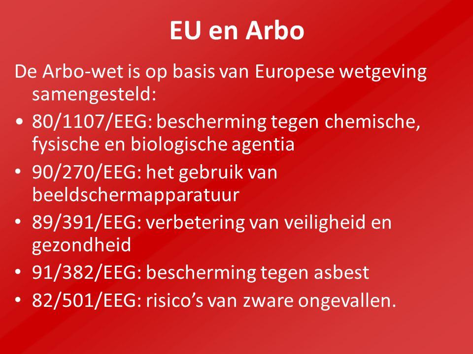 EU en Arbo De Arbo-wet is op basis van Europese wetgeving samengesteld: 80/1107/EEG: bescherming tegen chemische, fysische en biologische agentia 90/270/EEG: het gebruik van beeldschermapparatuur 89/391/EEG: verbetering van veiligheid en gezondheid 91/382/EEG: bescherming tegen asbest 82/501/EEG: risico's van zware ongevallen.