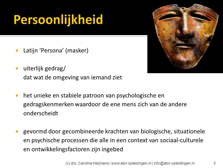  Latijn 'Persona' (masker)  uiterlijk gedrag/ dat wat de omgeving van iemand ziet  het unieke en stabiele patroon van psychologische en gedragskenm