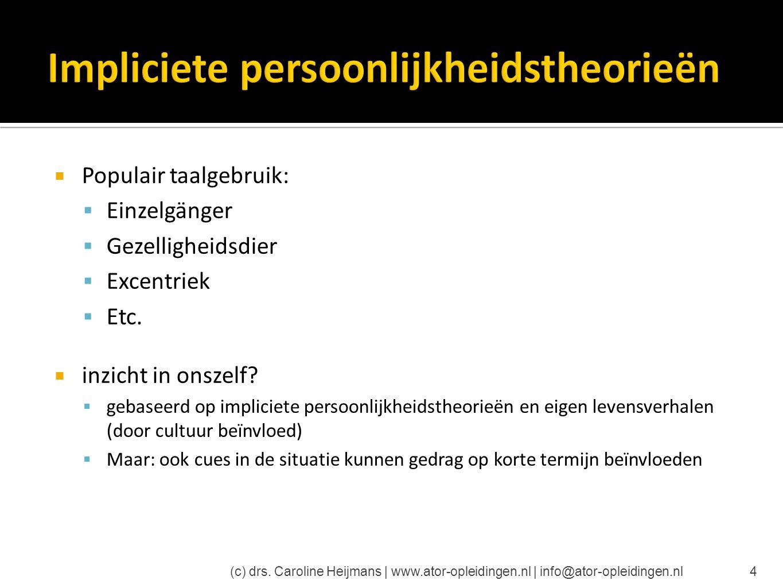  Meerdimensionale structuur  Basis: temperament  Invloed: psychologische processen in de persoon (c) drs.