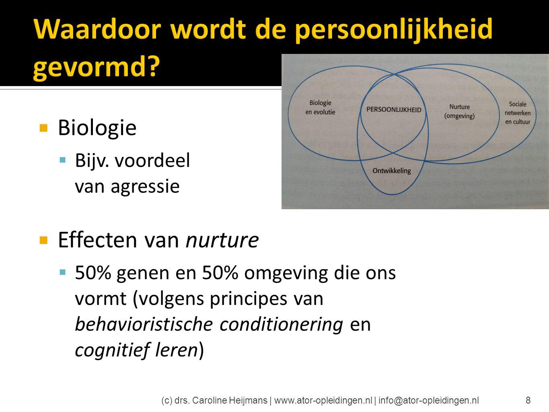 8  Biologie  Bijv. voordeel van agressie  Effecten van nurture  50% genen en 50% omgeving die ons vormt (volgens principes van behavioristische co