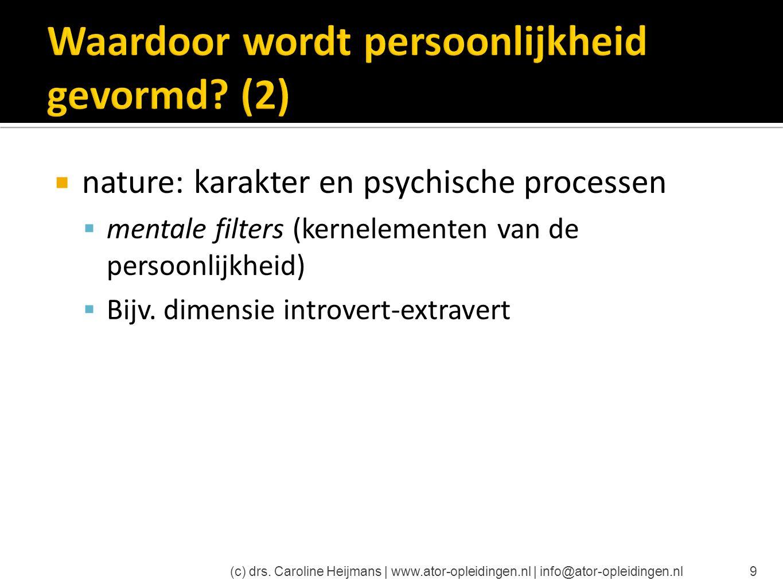  nature: karakter en psychische processen  mentale filters (kernelementen van de persoonlijkheid)  Bijv. dimensie introvert-extravert (c) drs. Caro