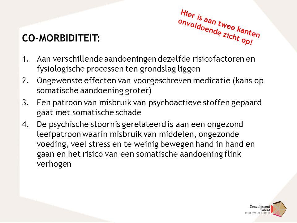 CO-MORBIDITEIT: 1.Aan verschillende aandoeningen dezelfde risicofactoren en fysiologische processen ten grondslag liggen 2.Ongewenste effecten van voo